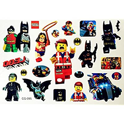 Paper Moon Tats Superhero Batman Lego Temporary Tattoos for Kids: Health & Personal Care