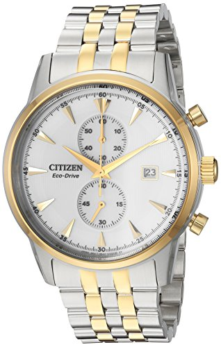 Citizen Men's 'Eco-Drive' Quartz Stainless Steel Dress Watch, Color:Two Tone (Model: CA7004-54A)