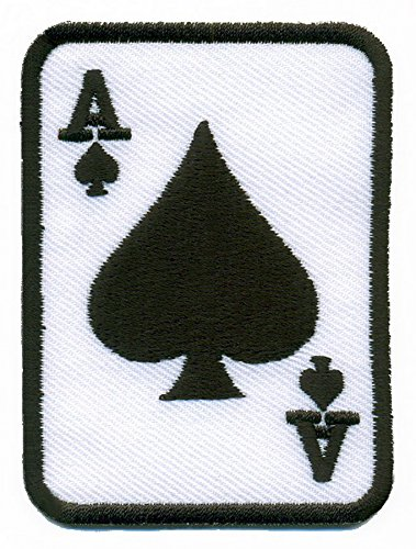Ace of Spades black suit playing card poker retro casino biker rat pack applique iron-on patch - Patch Card