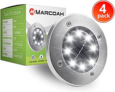 Marcoah Upgraded Solar Ground Lights Disk - Outdoor Waterproof Lights for Garden, Path, Landscape, Patio, Driveway, and Lawn - Easy No-Wire Installation | 8 LED (4 Pack)