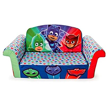 Flip Open Sofa for Kids 2 in 1 Childrens Furniture PJ Masks Toddlers Foam Lounger Bed