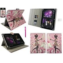 Emartbuy® Acer Iconia 10 B3-A20 10.1 Inch Tablet Universal Range Flower Girl Multi Angle Executive Folio Wallet Case Cover With Card Slots + Hot Pink Stylus