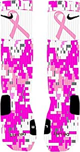 Pink Digital Camo Breast Cancer Awareness Custom Nike Elite Socks (Medium 6-8)