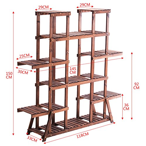 Flower Racks Flower stand Plant stand Plant flower pot rack Display shelf Shelf holds Wood plant stand Anti-Corrosion Wood Indoor Multi-Layer Balcony-D by DECORATION