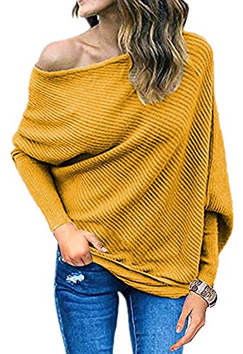 Qearal Womens Fall Off Shoulder Loose Pullover Sweater Batwing Sleeve Knit Jumper Shirt (XL, Yellow)
