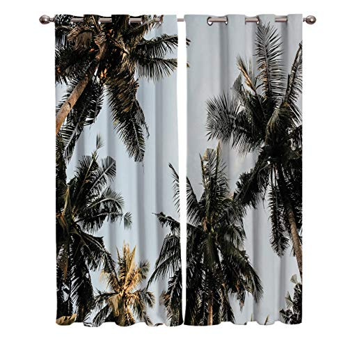 Libaoge Draperies & Curtains Panels for Bedroom Coconut Palm Trees with Skyline Window Curtains for Solding Glass Door - Set of 2 Panels, 80