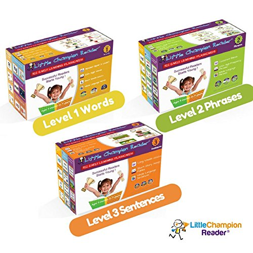 Learn to Read Alphabet, Phonics, Sight Words, Phrases & Sentence Story 970+ Flashcards - Babies, Toddlers, Preschool & Kindergarten Little Champion Reader Levels 1-3