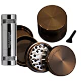 2.2' - Pewter 4 Piece SharpStone Aluminum Herb Grinder + SUPER SHREDDER Pollen Press