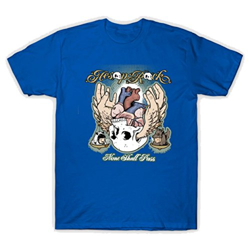 TAIDao Men's Aesop Rock None Shall Pass Graphic Design Funny Tshirt X-Large Royal Blue (Best Of Aesop Rock)