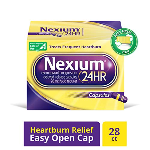 Nexium 24HR (28 Count, Capsules) All-Day, All-Night Protection from Frequent Heartburn Medicine with Esomeprazole Magnesium 20mg Acid Reducer (Best Medicine For Peptic Ulcer)
