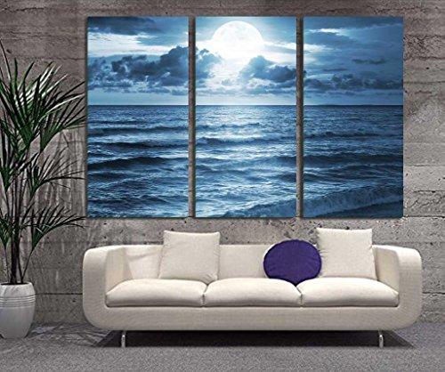 Over the Sea Wave the Moon Shines Bright Landscape Painting