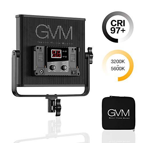 LED Video Light, GVM 520 Video Lighting Bi-Color 3200K-5600K, CRI 97+ Light Panel with Metal U-Bracket for Studio Photography Video Shooting ()
