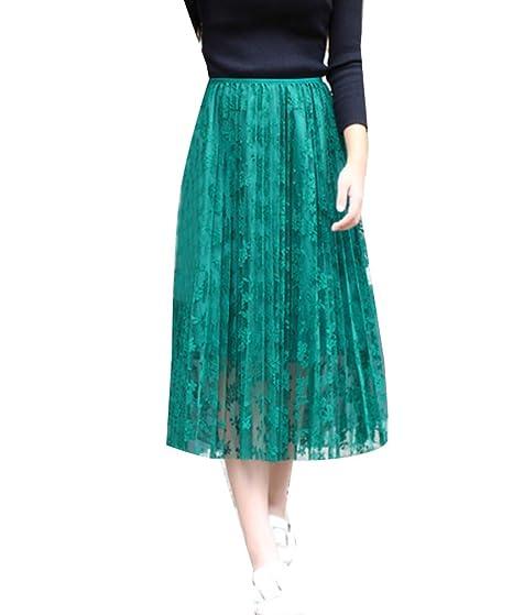 Runyue Elegante Faldas Tul Mujer Plisada Clásica Cintura Alta ...