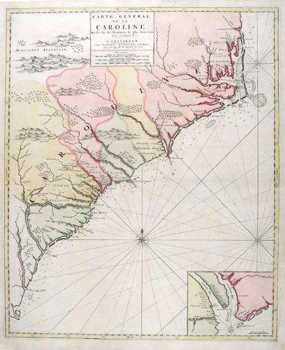 Amazon.com: Map of North and South Carolina: Pierre Mortier: Fine Art