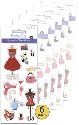 Set of 6 - Slumber Sleepover Party Supplies - Glam Party Supplies - Fashion Party Favors - 3D Dimensional Pop-up Stickers With Glitter Accents - Bulk Value (Slumber Party Sticker)