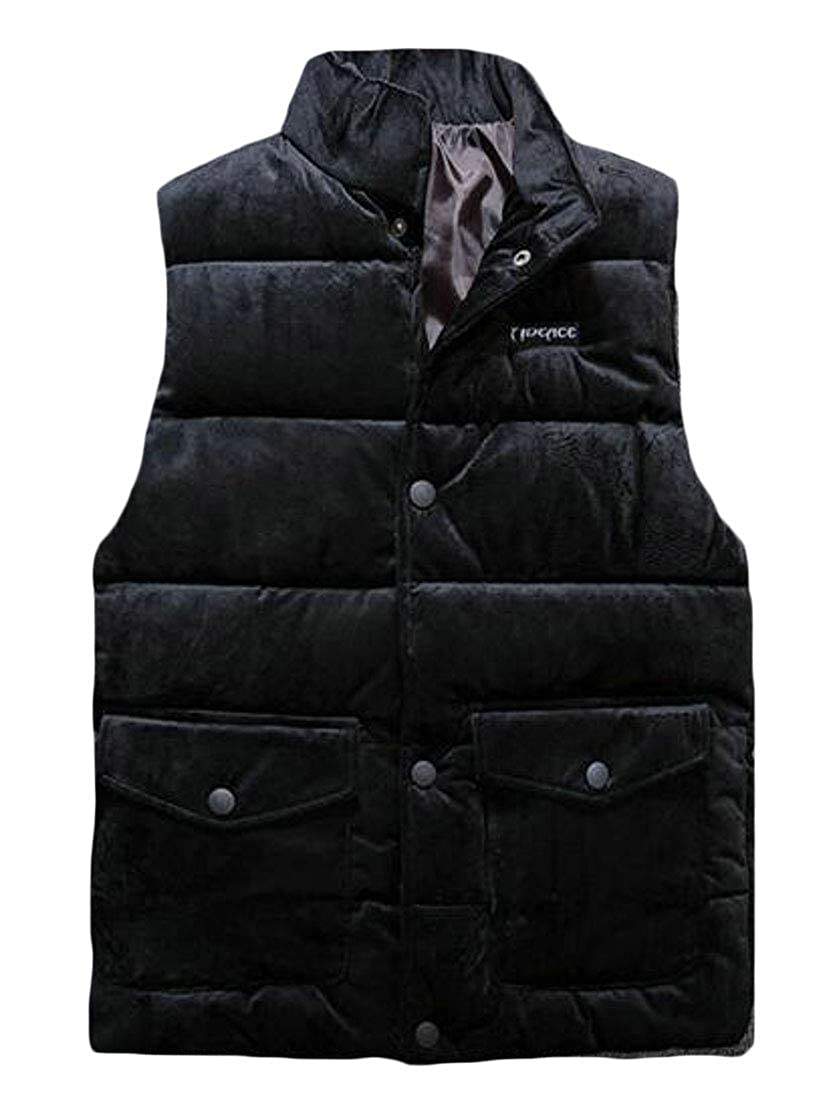 pipigo Men Sleeveless Warm Solid Color Winter Quilted Vest Puffer Jacket Outerwear