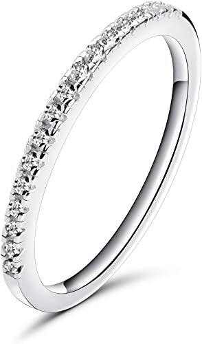 PLATINUM STERLING SILVER DIAMOND SET WHITE SAPPHIRE STACKABLE ETERNITY RING Sz 7