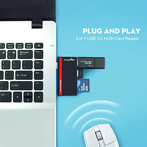 Rocketek USB 3.0 Hub with SD/TF Memory Card Reader Combo for Laptop/PC/Surface Pro/Mac - Support 2 Micro SD Cards + 1 SD Cards +2 USB Combo Adapter by Rocketek (Image #5)