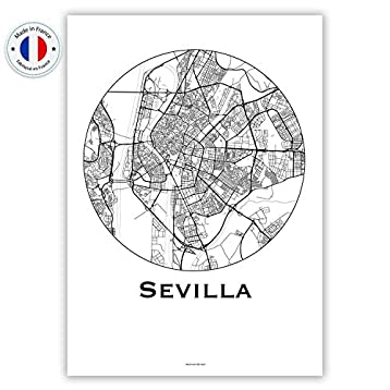 Cartel Sevilla España Minimalista Mapa - City Map, decoración ...
