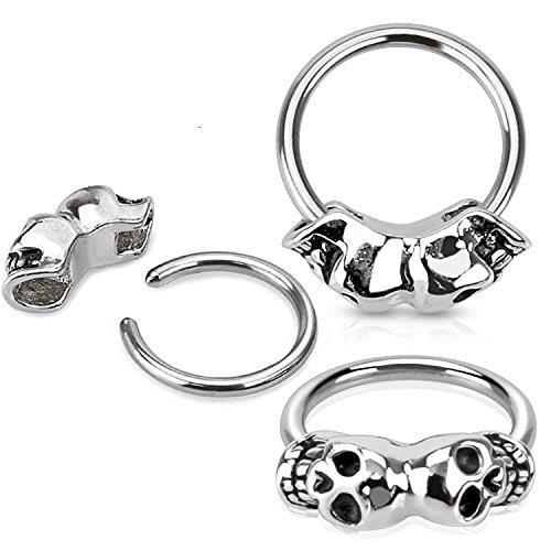 16G, 14G Twin Skull 316L Surgical Steel Captive Bead Ring - Sold Individually (16G) (Captive Skull Ring Body Jewelry)