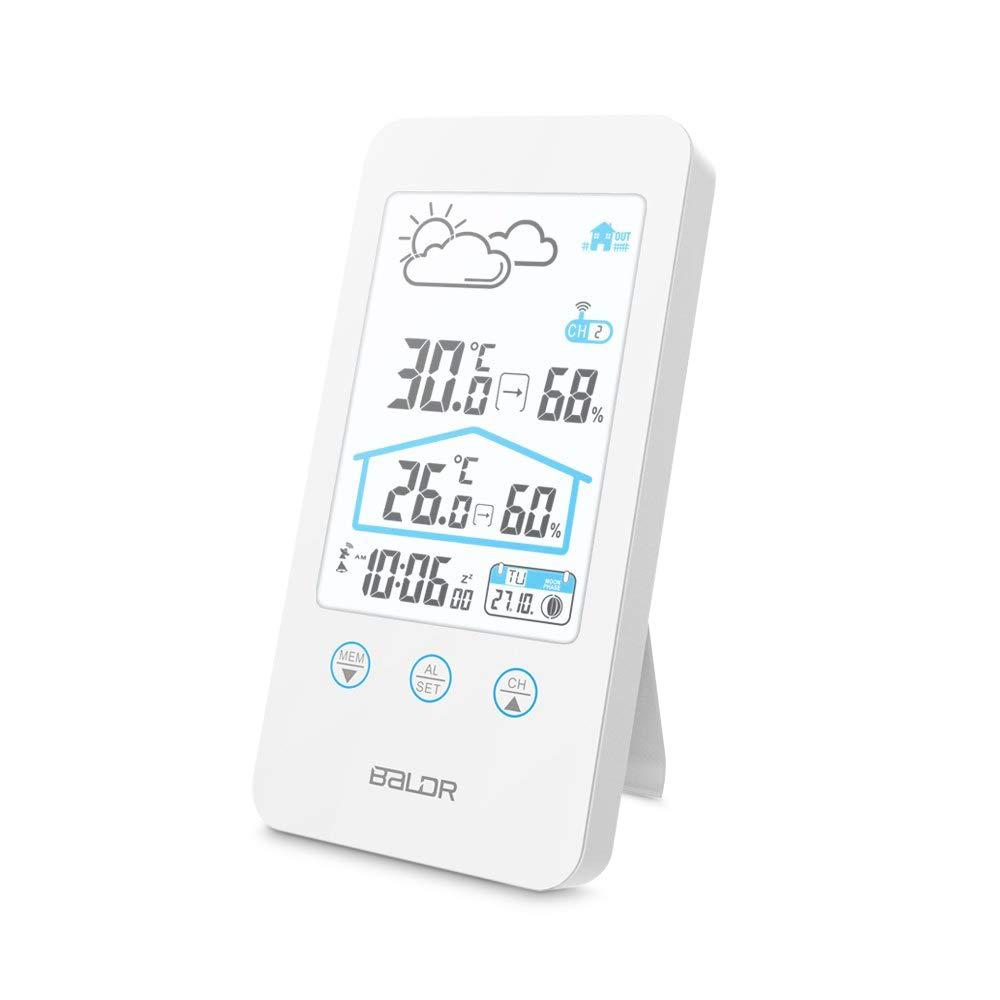 Wetterstation, HOCOSY Funk-Wetterstation, Multifunktionsthermometer und Hyprometer mit Außensensor, Großem LCD-Bildschirm, Wecker, 100 Meter Sendeentfernung Weiß