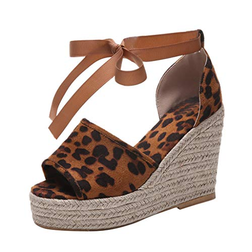 - Women Summer Sandals,Qingell Women Open Toe Breathable Beach Sandals Bow Lace-Up Casual Leopard Wedges Shoes Brown
