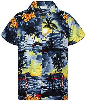 V.H.O. Funky Hawaiian Shirt for Men Shortsleeve Front-Pocket Casual Button Down Surf