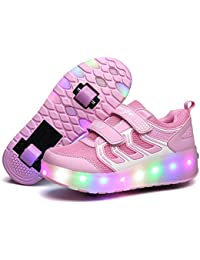 LED Light Up Single/Double Wheel Roller Skate Shoes for Boys Girls Kid