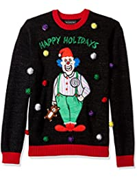 Men's Happy Holidays Clown Crew Neck Ugly Xmas