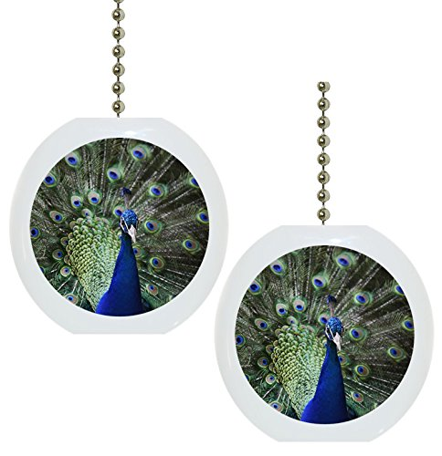 Set of 2 Beautiful Peacock Solid Ceramic Fan Pulls