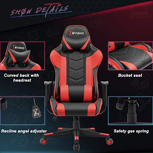Devoko Ergonomic Gaming Chair Racing Style Adjustable Height High-Back PC Computer Chair with Headrest and Lumbar Support Executive Office Chair (Red)