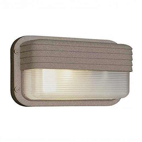 - Transglobe Lighting PL-41102 RT Outdoor Bulkhead Fixture with Clear Ribbed Polycarbonate Shade, Rust Finished by Transglobe Lighting