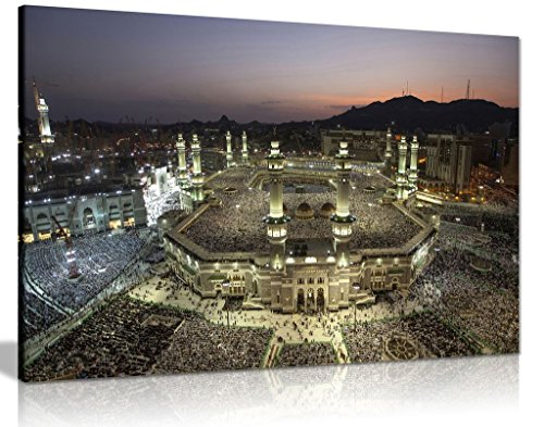 Islamic Art Mecca At Night Canvas Wall Art Picture Print (18x12) by Panther Print
