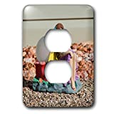 3dRose Jos Fauxtographee- Lawn Art Girl - A fairy woman in a purple dress on a yard with rocks for landscape - Light Switch Covers - 2 plug outlet cover (lsp_288929_6)