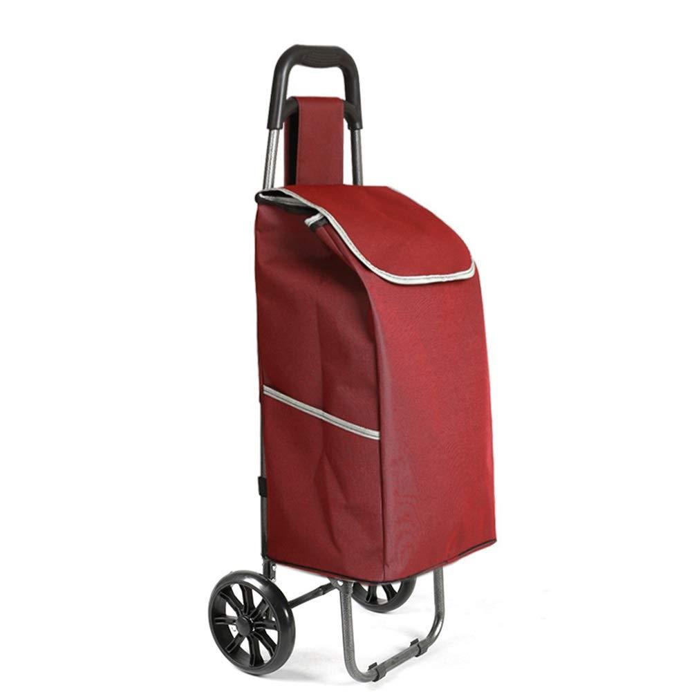 Chariot à achats bleu de ménage, panier d'achat, chariot d'épicerie portatif, chariot de sac de chariot à achats, chariot à chariot pliant avec 2 roues (Couleur : Bleu)