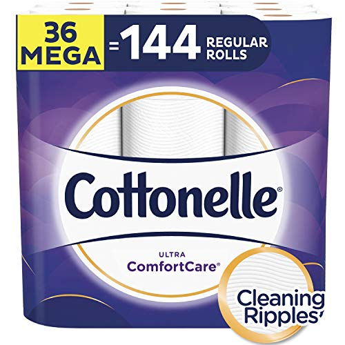 Cottonelle Ultra ComfortCare Toilet Paper, Soft Biodegradable Bath Tissue, Septic-Safe, 36 Mega Rolls (Packaging May Vary) (Cottonelle Toilet Paper Bulk)