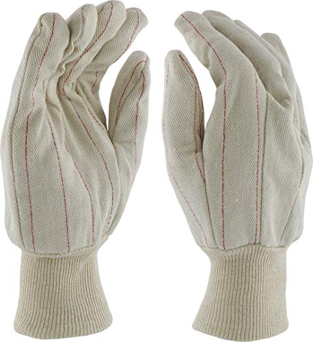 West Chester 790NI Nap in Quilted Cotton Double-Palm Gloves, White, Large (Pack of 12) ()