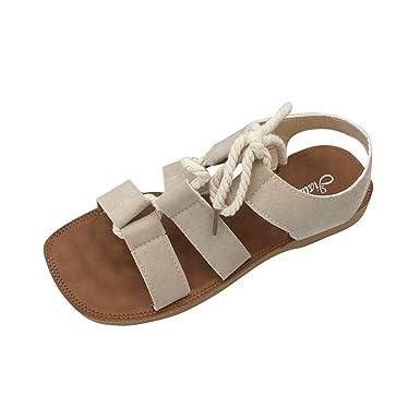 POLP Sandalias Planos Chanclas Playa Chica Antideslizante Casual Cómodo Zapatos de Cordones Sandalias de Vestir Mujer Mocasines Zapatillas de Estar por casa ...