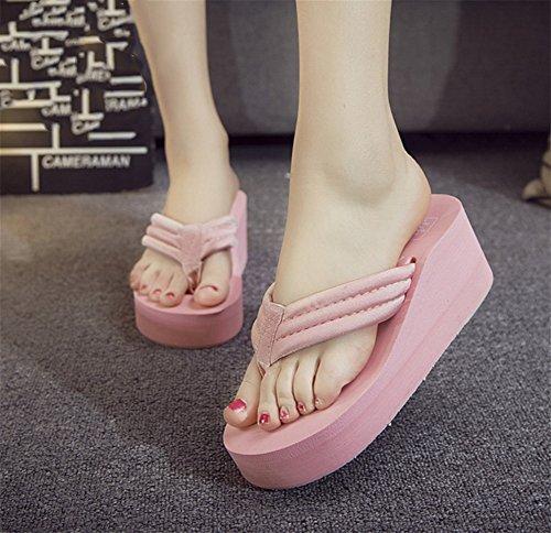 Sandalias Moda De Zapatos Mujer Chanclas Playa Verano Antideslizante Nvxie Gran Pink Tela Tamaño UqBxAH4v