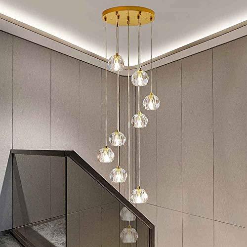 Mlshlf lam 10 Lights Dropping Pendant Light Modern Luxury Crystal Spiral Staircase Long Chandelier Villa Stair Light Duplex Chandelier 35x117cm
