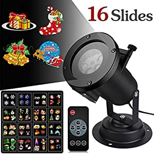 Led Christmas Light Projector, 16 slides Halloween Projector lights with Remote Waterproof Control Fairy Outdoor Landscape Indoor Show Decoration for Kids Birthday Wedding Party