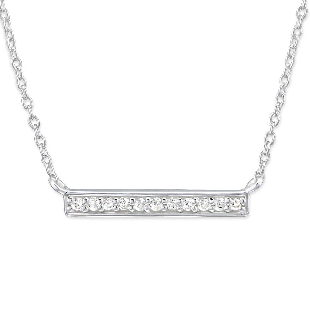 Atik Jewelry Silver Bar Necklace with Cubic Zirconia - CZ Crystal