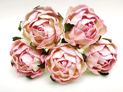 Thai Mulberry - Tyga_Thai Brand 10 pcs. White Pink Peony Ranunculus Mulberry Paper Flower Craft Handmade Wedding 30 mm. Scrapbook for So Many Card & Craft Projects RAM3-4#519(Mulberry-PAPAER-Peony-Ranunculus)