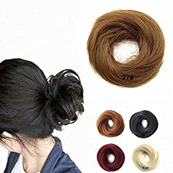 FESHFEN Scrunchy Scrunchie Hairpieces Elastic Messy Hair Bun Ponytail Hair Extensions Wig Drawstring-27# Strawberry Blonde