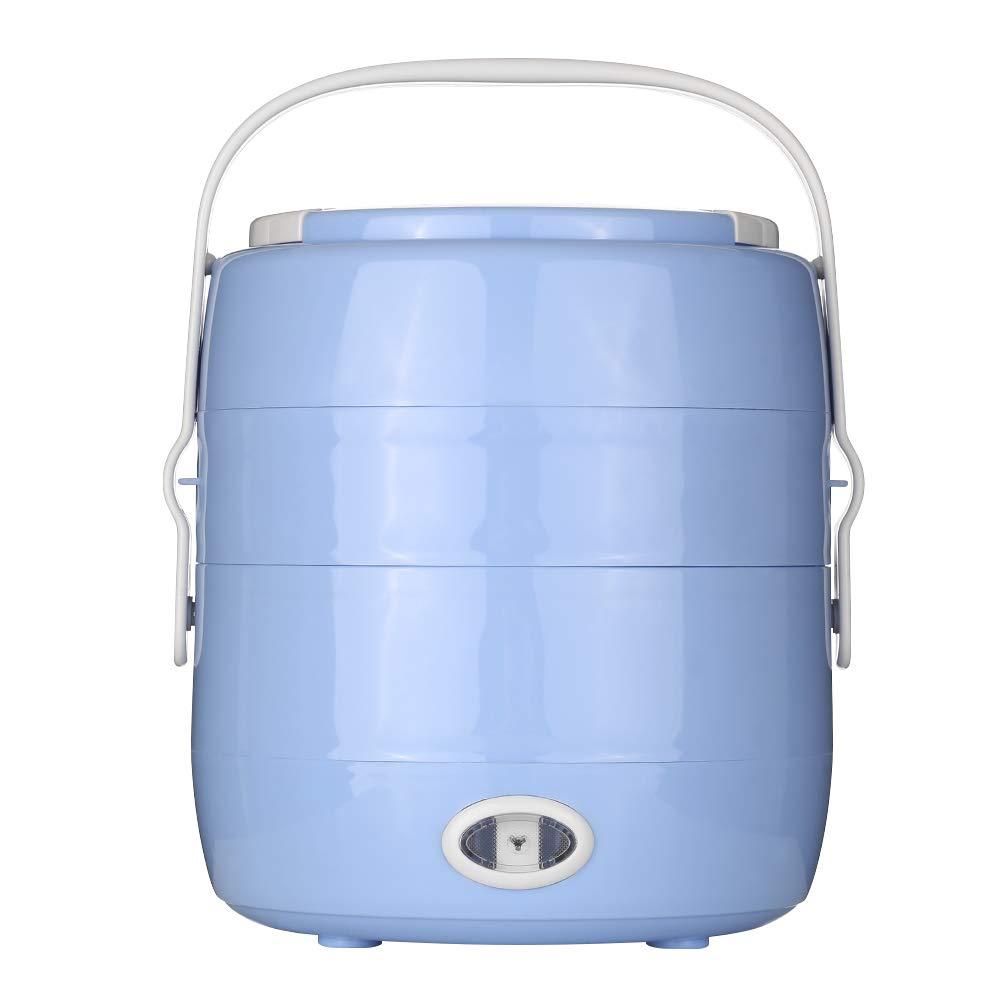 Decdeal Mini Rice Cooker, Cuociriso Portatile Doppio Strato,200W 2L Caldaia per Uova,Riscaldamento Rapido e Funzione di Protezione dal Calore,per Impiegati,Studenti,Viaggiatori