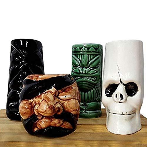 BarConic Tiki Mugs Drinkware Package 3 - Set of 4