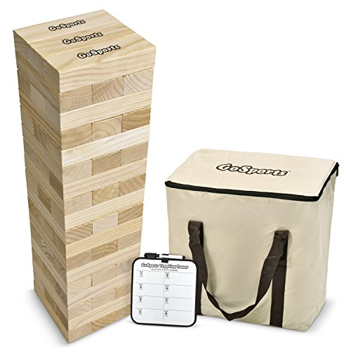 GoSports Giant Wooden Toppling Tower (stacks to 5+ feet) | Includes Bonus Rules with Gameboard | Made from Premium Pine Blocks Giant Tumble Tower