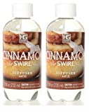 Hosley Set of 2 Premium Cinnamon Swirl Reed Diffuser Refills Oil, 230 ml (7.75 fl oz) Made in USA. Bulk Buy. Ideal Gift for Weddings, Spa, Reiki, Meditation Settings W1