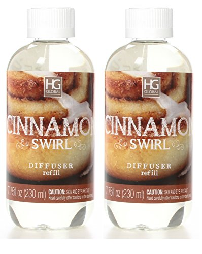 (Hosley Set of 2 Premium Cinnamon Swirl Reed Diffuser Refills Oil, 230 ml (7.75 fl oz) Made in USA. Bulk Buy. Ideal Gift for Weddings, spa, Reiki, Meditation Settings)