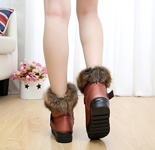 Gaorui Fashion Faux Leather / Fur Forrado Invierno Cálido Mujeres Hebilla Tobillo Botas De Nieve Zapatos De Oro